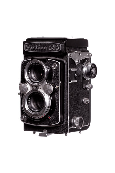 Vintage Camera Yashica-635 Left Side View Hood Closed