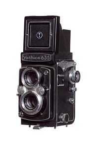 Vintage Camera Yashica-635 Left Side View Hood Open