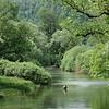 fly fishing, Fliegenfischer an natürlichem Flusslauf, Flussidyll, Angeln, Fischen, Angler, Forellen, Unica river, Slovenia, Slowenien