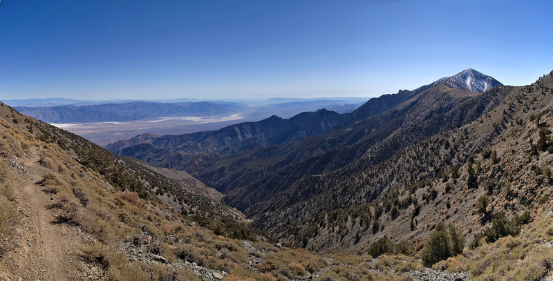 Telescope Peak Trail - Death Valley - California<br /> The path on the left comes from Mahogany Flat Campground and you can see Telescope Peak with some snow to the right.