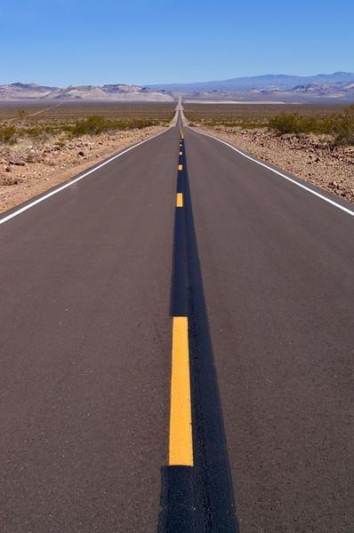 Road from Death Valley to Beatty, Nevada.<br /> This is the road to Rhyolite ghost town and to the dirt road to Titus Canyon.