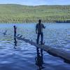 A find fishing log at McDonald Lake