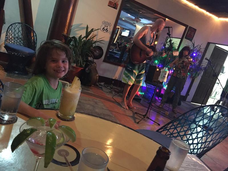 Dinner at Nancy Jean's gig in Quepos