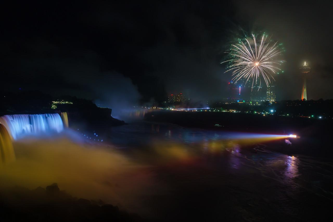 Fireworks and lighting show over Niagara Falls