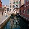 Building reflection in Rio del Megio near La Zucca restaurant (041-524-1570) in Santa Croce sestieri (neighborhood)