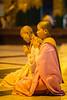 Nuns praying at Shwedagon Pagoda in Yangon.