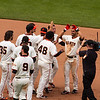 Angel Pagan, OF, Celebrating His Walk Off Double<br /> <br /> Giants vs Reds<br /> July 1st 2012<br /> AT&T Park<br /> San Francisco, CA