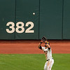 Angel Pagan Catching Fly for the Out<br /> <br /> Giants vs Reds<br /> July 1st 2012<br /> AT&T Park<br /> San Francisco, CA