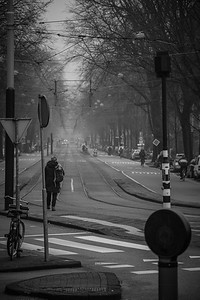 Waiting for the tram in the fog