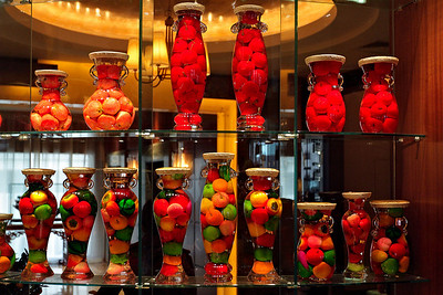 Beijing - Bottled fruit in the Hotel restaurant