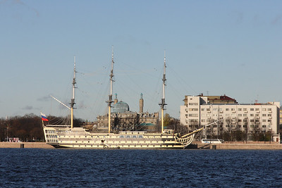 Tall ship in the Neva river