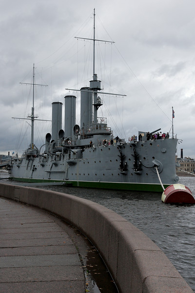Cruiser Aurora in the harbour of St-Petersburg. It played a role in starting the Russian revolution.