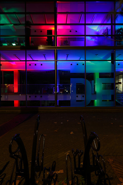Wonderful colors in this office building. It is part of the Glow festival for several years now. I took a shot of it a couple of years ago.