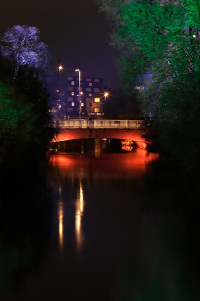 The bridge over the river 'Dommel' nicely lit