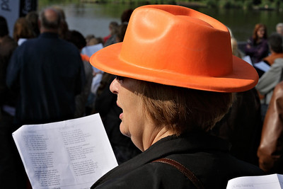 Singing at the Queensday in the town of Waddinxveen