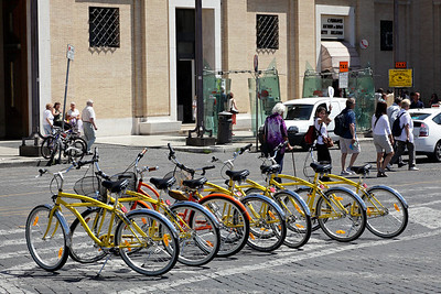 Our bicycles at the Vatican for a stop