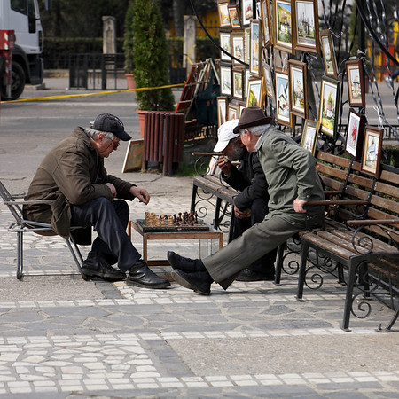 Chess players in the center of Iasi