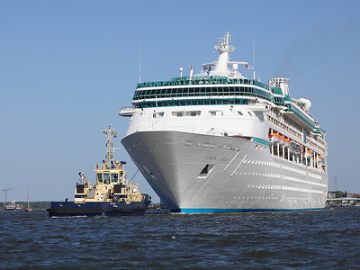 A cruise ship leaving the Amsterdam terminal