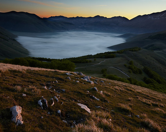 Early morning on the piano Grande in the SIbillini mountains in Umbria. In the far side of this high plane you can see the town of Castelluccio.