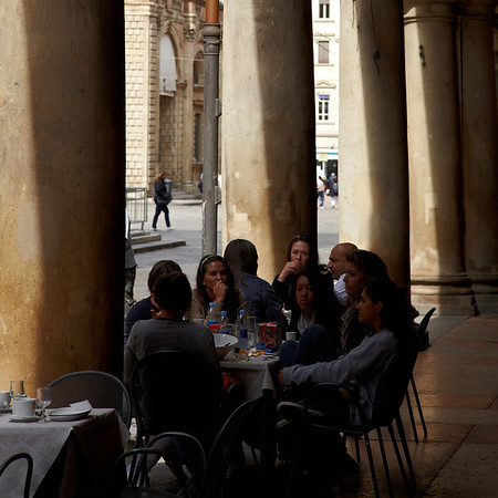 A student gathering on Piazza del Poppolo in Bologna