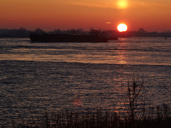 Sunrise at the river Maas
