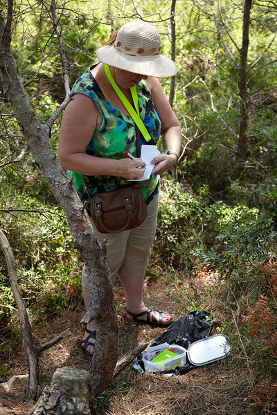 A geocacher in action