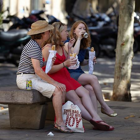 Tourists having a break