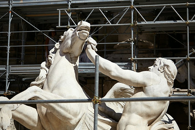 Reconstruction of the trevi fountain