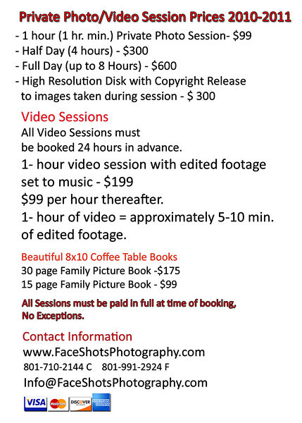 FaceShots Private Shoot price list vertical
