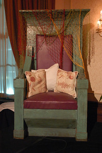 We found a chair for the stage where Sue Monk Kidd would sit when guests were roasting her.  Though not the same as the one in the novel, this throne has great appeal and fit perfectly in with our theme. This was actually a surprise from JMC Charleston to the hostesses!