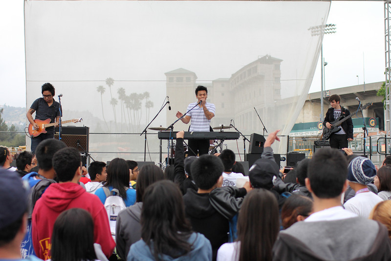 AJ Rafael preforming on stage, choosing to support Autism Awareness in honor of his cousin.