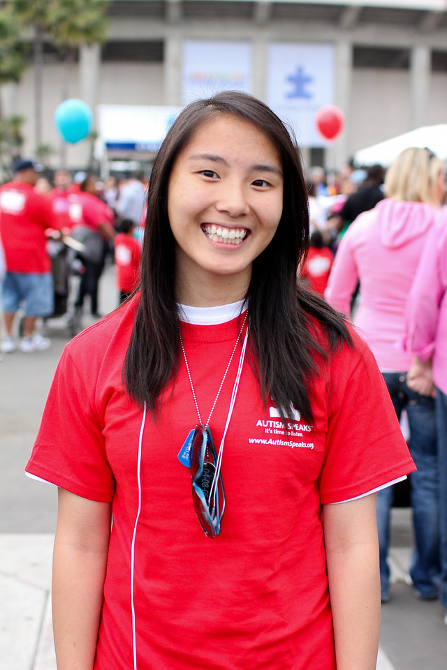 Ellen Yang was a volunteer in front of registration aiding walkers and giving directions.