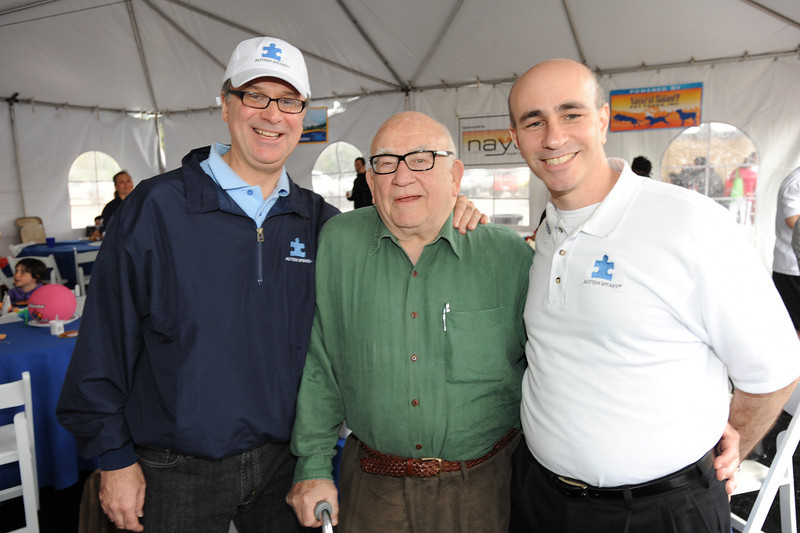 Mark Roithmayr, preisdent of Autism Speaks Ed Asner of the Mary Tyler Moore show, and Phillip Hain, Executive Director of Autism Speaks Los Angeles