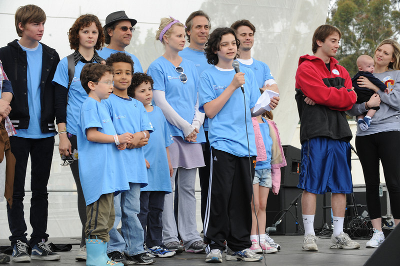 Team Parenthood, on stage, with actor Max Burkholder speaking to the audience of 20,000. Burkholder plays a child with autism on the series. Team Parenthood raised over $40,425.85 for the LA Autism Walk