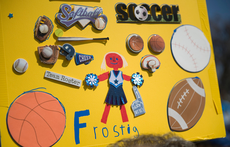 One of the Team Frostig signs at the Walk Now for Autism Speaks event Saturday at the Rose Bowl.