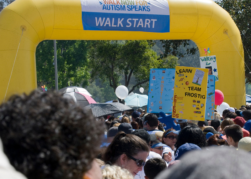 Team Frostig approaches the starting line during Saturday's Los Angeles Walk Now for Autism Speaks at the Rose Bowl.