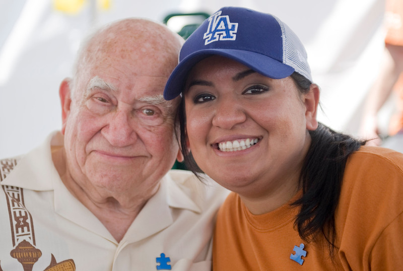 Ed Asner poses for a photo with Sholeh Gaviria during the Walk Now for Autism Speaks event at the Rose Bowl.