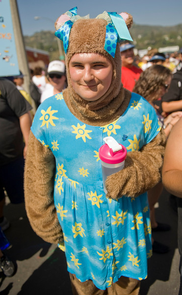 Patrick Williams, who was participating in the Los Angeles Walk Now for Autism Speaks event with the CSUN Alpha Xi Delta frternity, braves the heat in a bear costume.