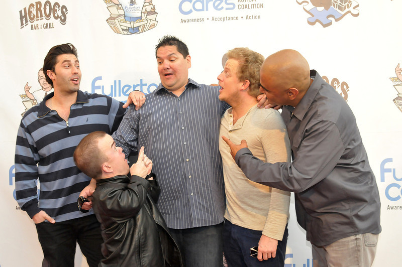 Comedian Adam Ray, comedian Brad Williams, Fullerton Cares Founder Larry Houser, comedian Skylar Stone and comedian George Perez at the Fullerton Cares 3rd annual 'Heroes Comedy Show for Autism with Brad Williams and Friends' benefit comedy night, featuring nationally headlining comics Carlos Mencia, George Perez, Brad Williams, Adam Ray and Skylar Stone, at the historic Fox Theatre Fullerton on Wednesday, April 3, 2013 in Fullerton during Autism Awareness Month. The sold-out event hosted 600 attendees and raised a net amount of $20,000 in support of Fullerton autism charities and special education programs.