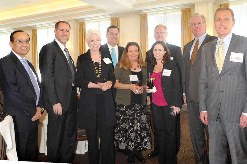 Caption: Managing Partners at the OC-ALA Law Firm Leadership Forum Rubin Smith of Alvarado Smith, Leon Shulman of Shulman Hodges & Bastian, Ruth Malcovic of Jackson DeMarco, Mark Fletcher of Bradford and Barthel, Sherrie Boutwell of Boutwell Fay, Tamara Devitt of Fisher & Phillips, Mark Poliquin of Poliquin and DeGrave, Jim McDonald of Fisher & Phillips, and Dennis Ghan of Palmieri, Tyler, Wiener, Wilhelm & Waldron. The Law Firm Leadership Forum was keynoted by Alan R. Olson who addressed 60 prominent members of the Orange County legal industry at the Law Firm Leadership Forum held by the Orange County Chapter of the Association of Legal Administrators (OC-ALA) on Thursday, March 1, 2012 / Photo by Jess Block Courtesy of OC-ALA
