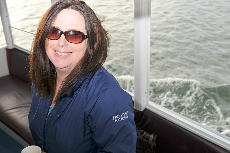 Photo: President Elect Sheri Clifton, CLM, of Troutman Sanders LLP in Irvine on the harbor cruise, Thursday June 17, 2010, in Newport Beach. A group of 18 legal administrators from Orange County law firms enjoyed scenic views of Newport Beach Harbor during the networking event hosted by the Orange County Chapter of the Association of Legal Administrators. Photo by Jess Block/ Current