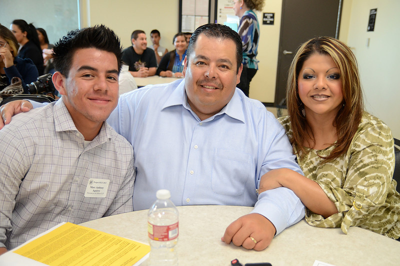 Newmeyer & Dillion LLP Project SELF intern Marc Anthony Aguirre with his parents