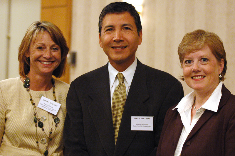 Photo: Jess Block/ Current/ -8/7/08- Pam Kuckelman, OC-ALA President-Elect, Vincent Sarmiento, Santa Ana City Council Member, and Janel Ozar, OC-ALA President, at the Project SELF Recognition Dinner, Wednesday August 6 at the Wyndham Garden Hotel in Costa Mesa. 33 students were recognized for their participation in an 8-week long paid internship in Orange County law firms, a collaborative program with the Orange County Bar Foundation and the Orange County Chapter of the Association of Legal Administrators. Photo by Jess Block/ Current