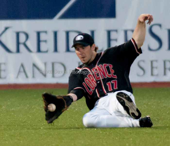 Florence Freedoms Dustin Koca makes a great sliding play in game two of the double header.(Cincysportszone/Scott Davis)