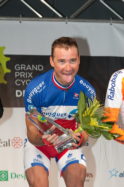 Voeckler shows his exhaustion on the top step of podium at the GP du Quebec City.