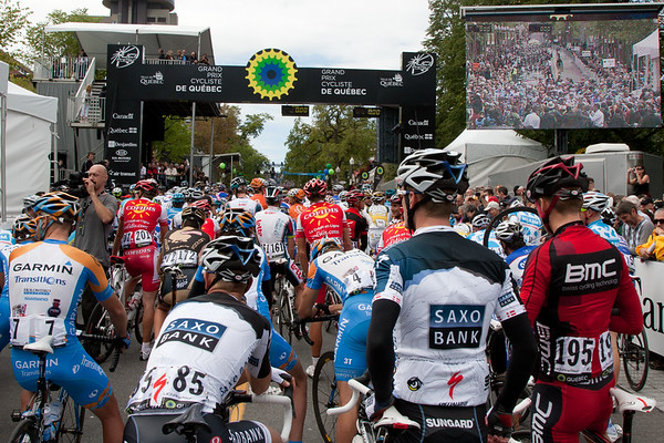 The riders line up for the start