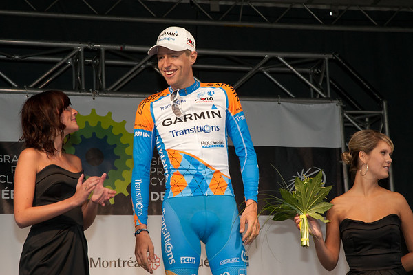 Hesjedal on the podium as the best Canadian rider in the GP du Quebec.