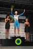 Hesjedal shows his exhaustion on the podium as the best Canadian rider in the GP du Quebec.