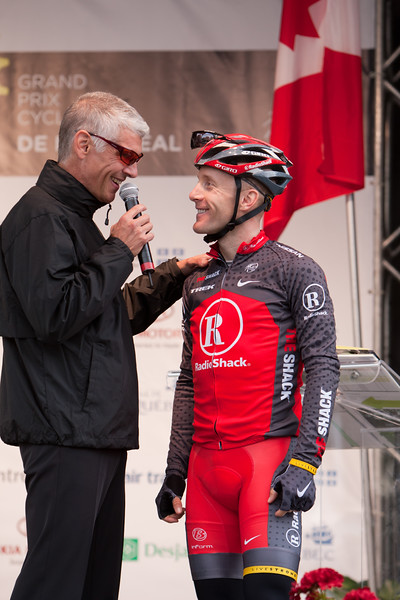 Levi Leipheimer is interviewed before the race.