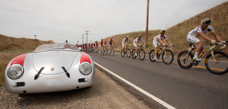 HTC Columbia riders wonder if the Porsche Speedster might be a better way to catch the break.